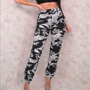 Black & White Camo Print Elasticated Trousers